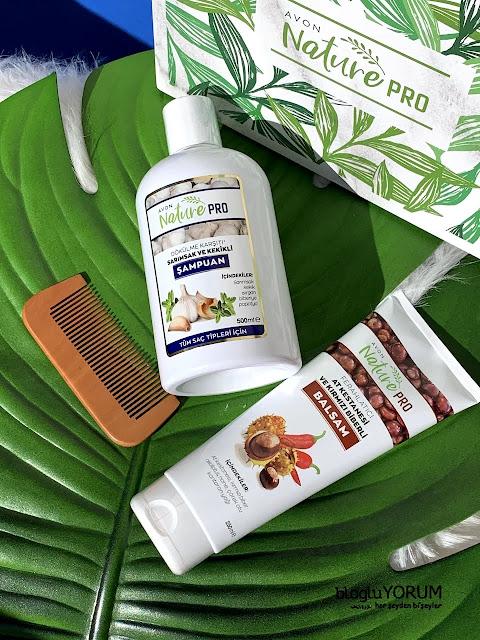 avon nature pro at kestanesi ve kırmızı biberli masaj jeli balsam nature pro sarımsak ve kekikli şampuan