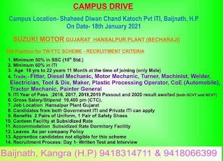ITI Job Campus Placement Drive at Shaheed Diwan Chand Katoch Pvt ITI, Baijnath, H.P For Suzuki Motors Gujarat Plant