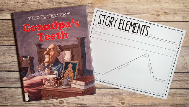 "Mentor Text with text ""Grandpa's Teeth"" and Graphic Organizer with text ""Story Elements"""