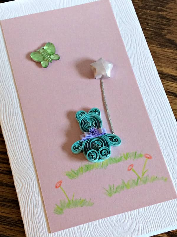 quilled new baby card with bear, balloon, and butterfly