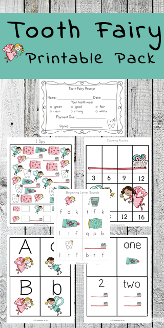 Free Tooth Fairy Worksheets - this free printable is such a fun idea for helping kids practice counting, skip counting, alphabet letters, color matching, beginning letter sounds, and more for toddlers, preschool, prek, kindergarten, and first grade.