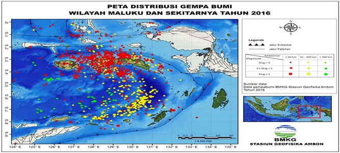 Data Badan Meteorologi, Klimatologi, dan Geofisika (BMKG) Stasiun Geofisika Ambon, sepanjang tahun 2016 tercatat 1222 gempa yang terjadi di wilayah Maluku dimana 43 gempa tersebut dirasakan dan 1 diantaranya menimbulkan kerusakan dan korban jiwa.