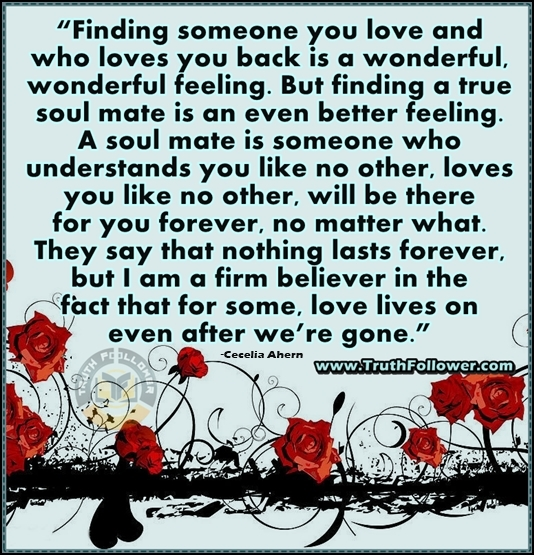 Love Each Other When Two Souls: A Soul Mate Is Someone Who Understands You Like