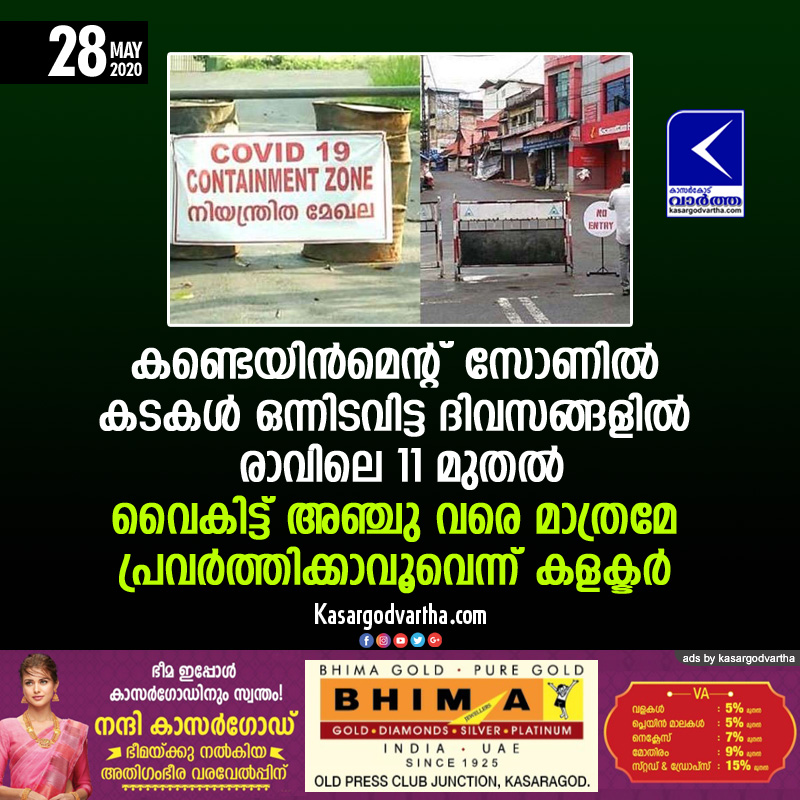 Kasaragod, News, Kerala, District Collector, Shop, Road, Police, Collector on Containment Zone