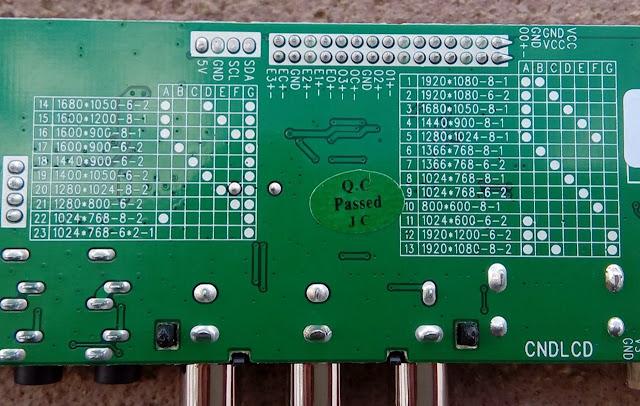 Tabela de resolução da placa HDVX9-AS