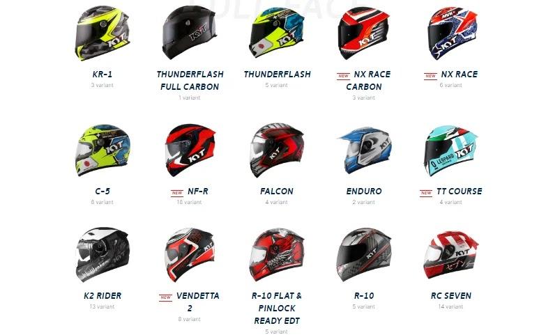 daftar berat helm kyt full face diurut dari teringan hingga terberat