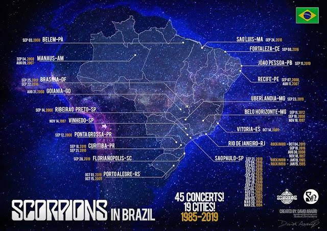 Mapa contendo todas as datas que Scorpions tocou no Brasil: 45 datas, em 19 cidades, de 1985 a 2019.