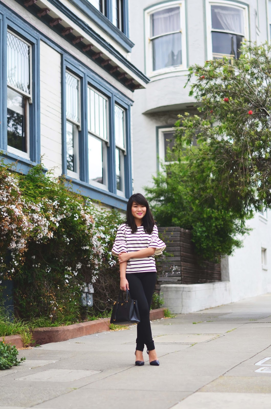 jcrew stripe bell sleeve shirt pixie pants