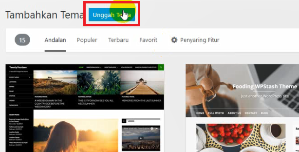 unggah tema premium wordpress
