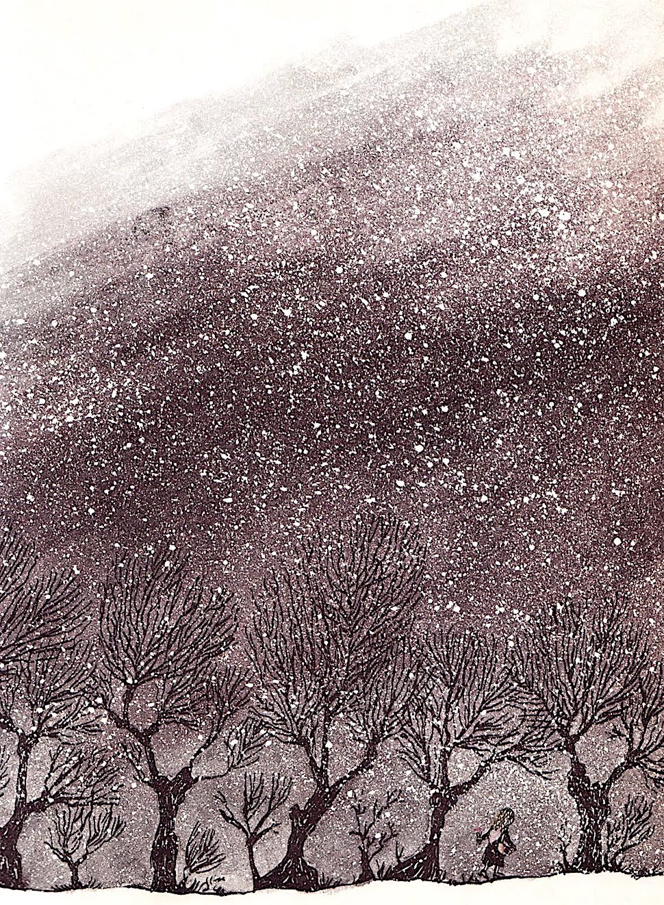 a Blair Lent 1968 children's illustration of a girl walking in a snow storm