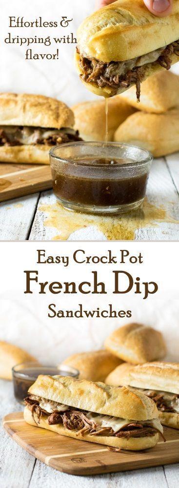 EASY CROCK POT FRENCH DIP SANDWICHES #sandwiches #sandwich #easydinnerrecipes #dinnerideas #easyrecipes