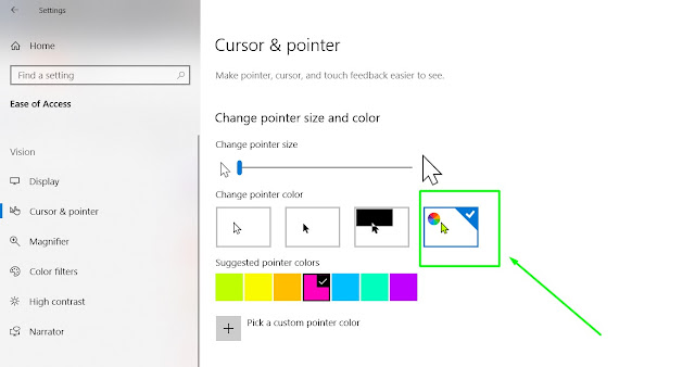 Mengganti Warna Pointer dan Cursor di Windows 10