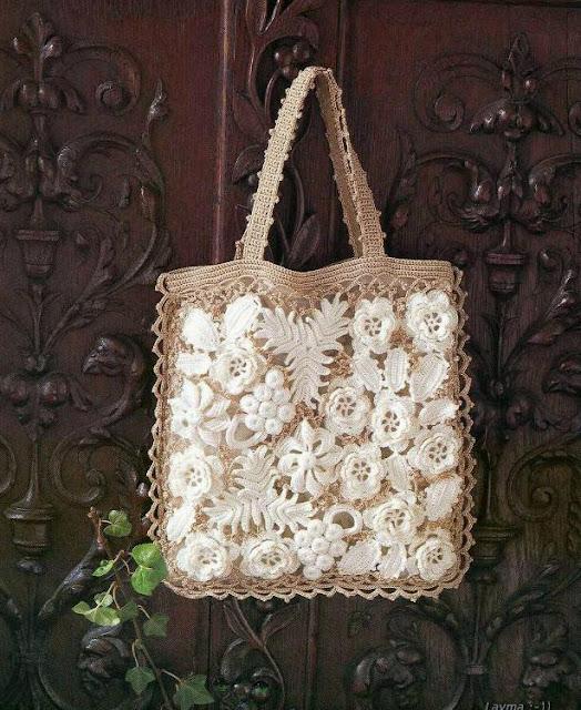 2 Bolsas con Apliques de Crochet