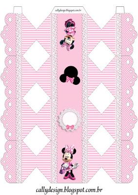 Cajas de Minnie con Rayas Rosa para imprimir gratis.