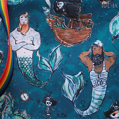dads, Pride, LGBT+, merman, mermen, mermaid, LGBT+ families, adoption, LGBT+ adoption rights, LGBT+ rights, Pride Glasgow, Washpapa, underwater world, pirates, vegan bag, cross-body bag, shoulder bag,