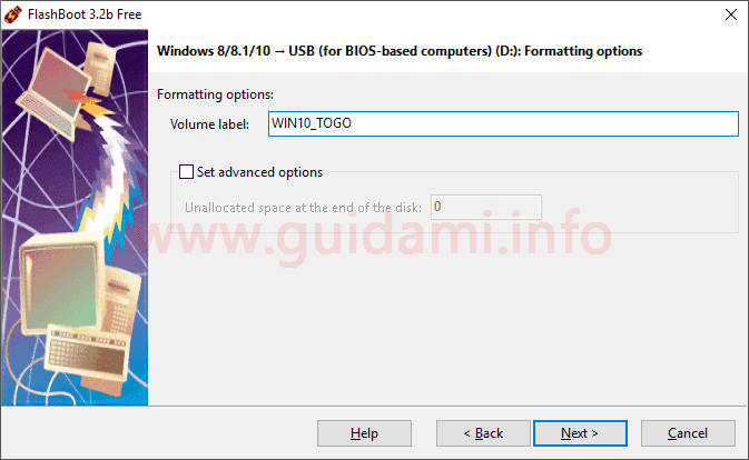FlashBoot schermata Formatting options
