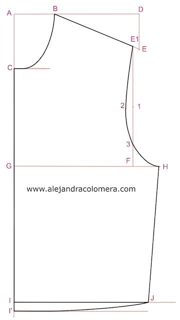 Trazo definitivo sobre estructura inicial del patrón delantero sin pinzas