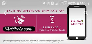 Axis Pay UPI Offer which is owned by Axis Bank, Offering Rs.100 Cashback directly in Bank on First Prepaid Jio Recharge of Rs 399 & Rs 35 Cashback on 2nd Prepaid Recharge. And if Your Jio Recharge is also going to Expire then Recharge your Jio Number by Using Axis Pay UPI App and Rs.100 Cashback directly in Bank Account. And finally you will get Jio Recharge of Rs 399 at Just Rs 299. Follow Below Steps to Get Rs.100 Cashback on First Jio Recharge by Axis Pay UPI App.    How To Get Cashback on Jio Recharge ?   * Firstly Install Axis Pay UPI App from Play store.  * Register on Axis Pay UPI App , Add a Bank Account, Create Your UPI Id .  * Make a Jio Prepaid Recharge of Rs 399 using Axis Pay UPI App.   * You will Receive Cashback of Rs.100 within 10 Days. If it will be your first Recharge at Axis Pay UPI App.  * You will Get Rs 35 Cashback if it is your 2nd Prepaid Recharge.   * Your cashback will be Credited directly in Your Linked Bank Account at Axis Pay UPI App.   * ** Offer Applicable in Jio Prepaid  Recharge of Rs 399 Only.