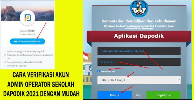 CARA VERIFIKASI AKUN ADMIN OPERATOR SEKOLAH DAPODIK 2021 DENGAN MUDAH