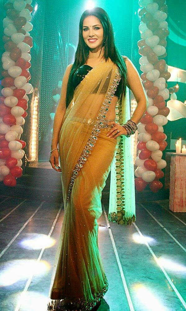 Sunny looking gorgeous in yellow sari at Pavitra Rishta to promote Ragini MMS 2