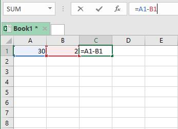 Contoh tabel rumus pengurangan excel cell