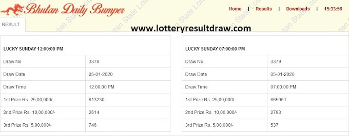Bhutan Daily Lucky Bumper Lottery Result 24.10.2020 Live Draw