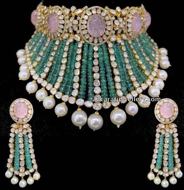 Flat Diamond Emerald Beads Choker