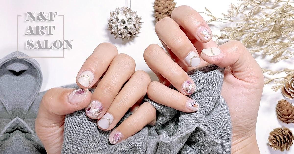 台南美甲|中西區 N&F ART SALON手足美甲|女孩最愛的氣質水暈染美甲|高品質凝膠指甲