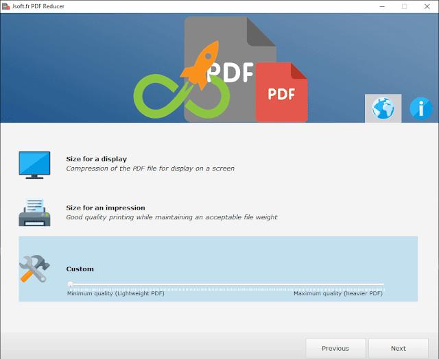 Jsoft PDF Reducer schermata delle opzioni di compressione PDF