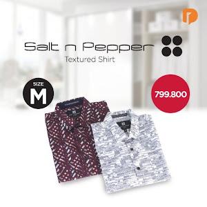 Salt N Pepper Textured Shirt Size M (Set of 2)