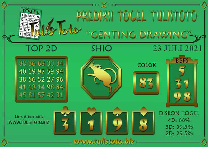 Prediksi Togel GENTING DRAWING TULISTOTO 23 JULI 2021