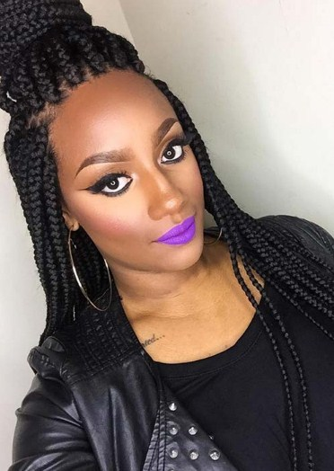 Long Jumbo Box Braids with Top Bun