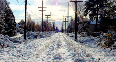 Looking south on the snow covered Arbutus Corridor at King Edward Drive