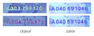 Orijinal ve sahte paralarda parlayan seri numaralarının karşılaştırılması