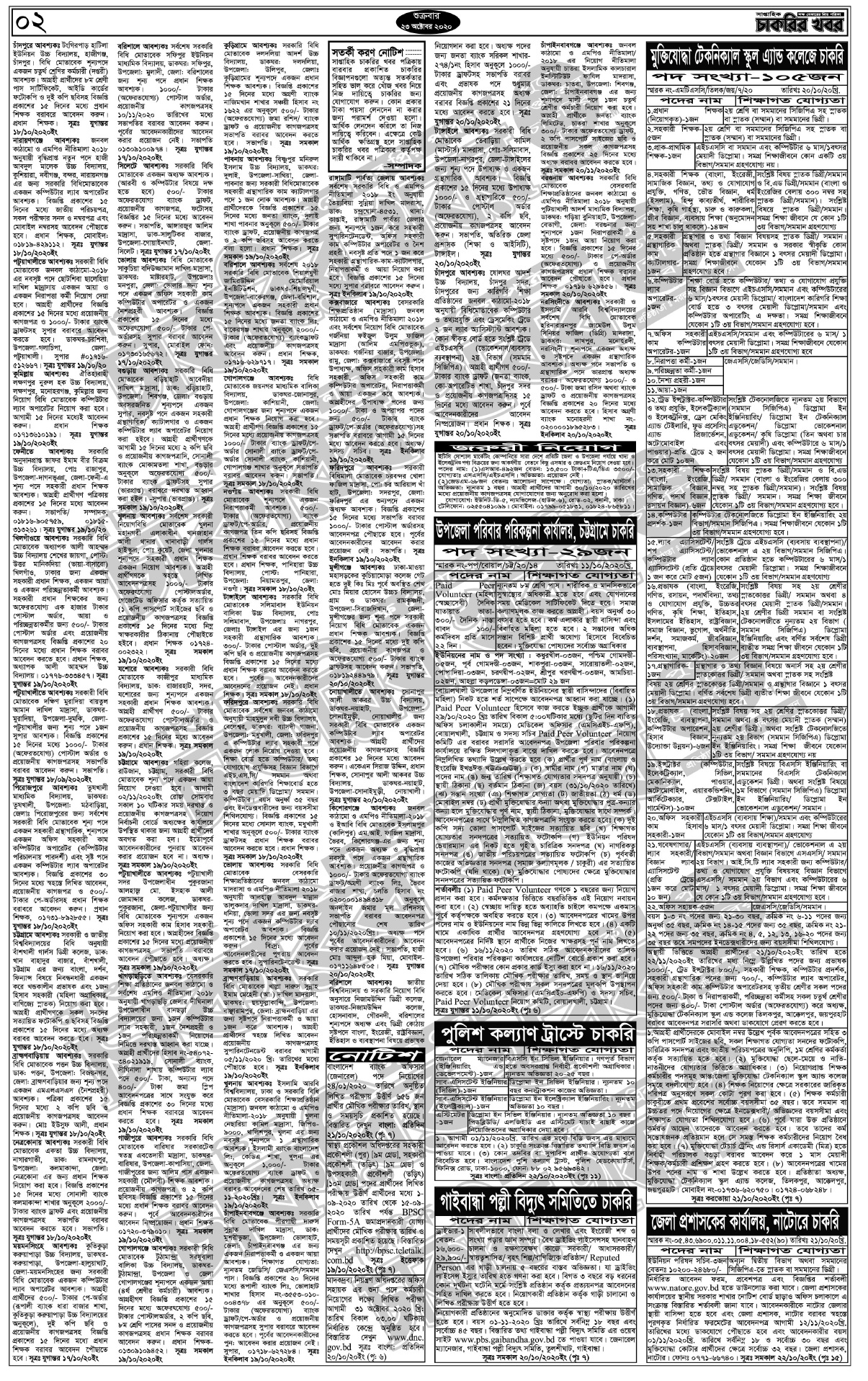 Saptahik Chakrir Khobor Newspaper 23/10/2020 সাপ্তাহিক চাকরির খবর পত্রিকা ২৩/১০/২০২০ pdf Download