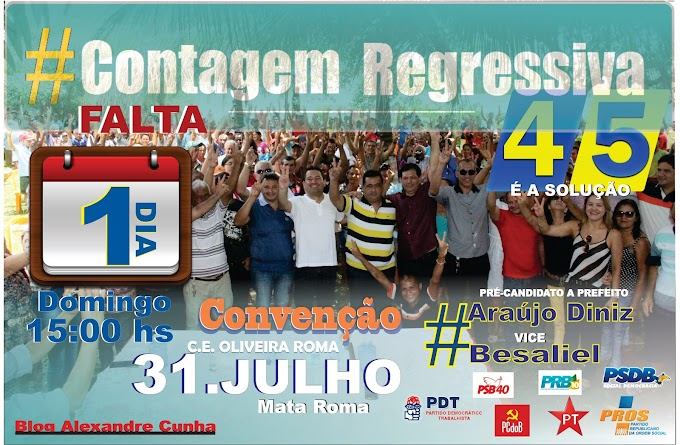 PSDB de Mata Roma informa: Convenção domingo (31/07) Ta chegando a hora!