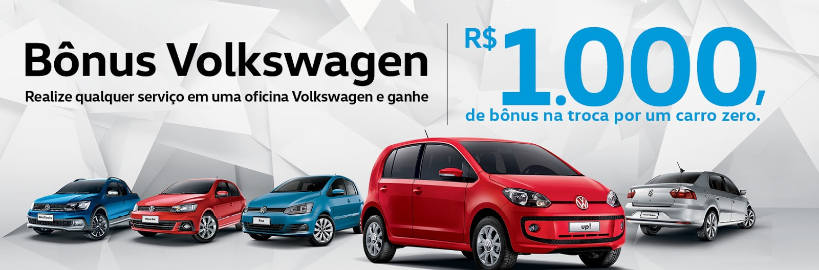 Aproveite! Revisão na Volkswagen gera R$ 1.000,00 de bônus na troca por um carro zero