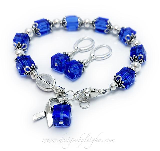 Colon Cancer Survivor Bracelet and Earrings