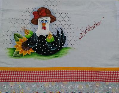 pintura em tecido galinha com milhos e girassol