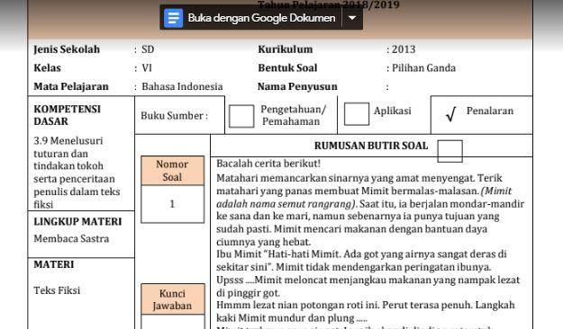 Contoh Soal HOTS Jenjang SD Mata Pelajaran Bahasa Indonesia