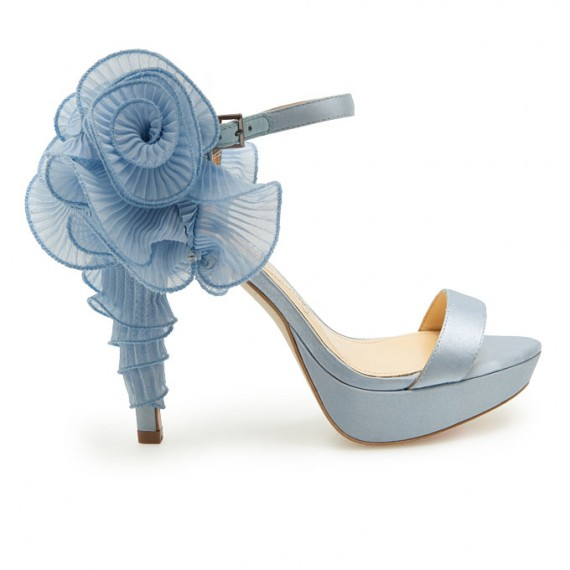 elegant bridal style light blue wedding shoes