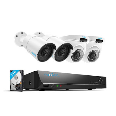 Reolink 4MP 8CH PoE Video Surveillance System, 4pcs Wired Outdoor 1440P PoE IP Cameras,