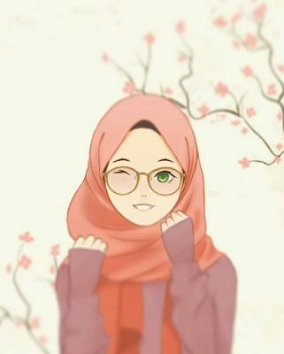Gambar Kartun Muslimah Berkacamata