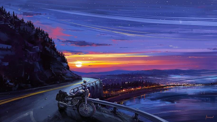 Sunrise, Night, Sky, Landscape, Scenery, Art, 4K, #188