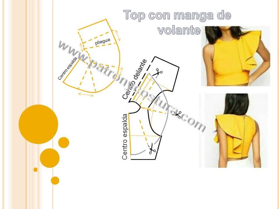 www.patronycostura.com/Top con manga de volante. Tema 209