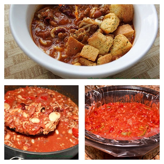 here is a collage of chili photos this is a pot of chili with 15 beans fresh whole plum tomatoes, tomato sauce, Merlot wine in a big grey saucepan on top of the stove with a large serving spoon