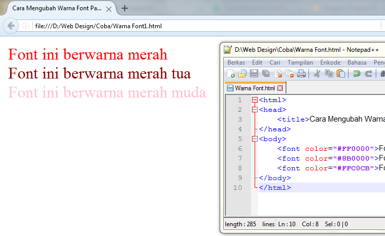 Cara Mewarnai Font Pada HTML - ProgramPC