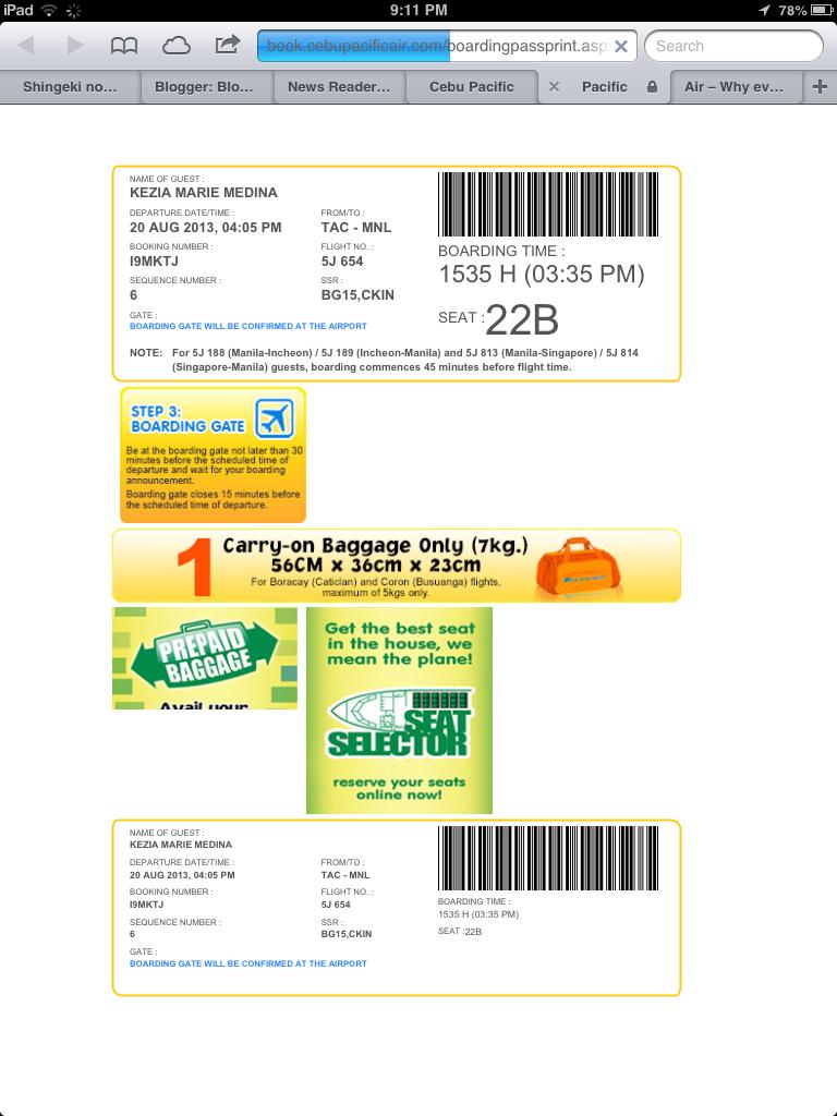 Cebu Pacific Web Check-In – Kezia Marie