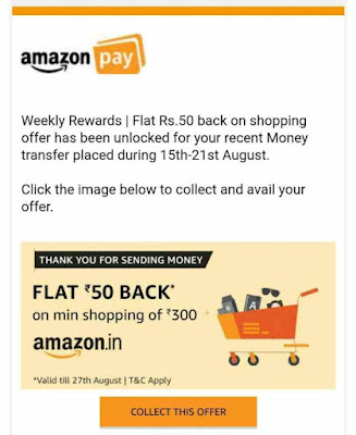 (Update)Amazon weekly rewards-get a chance to win upto Rs1000 on Rs250 UPI money transfer