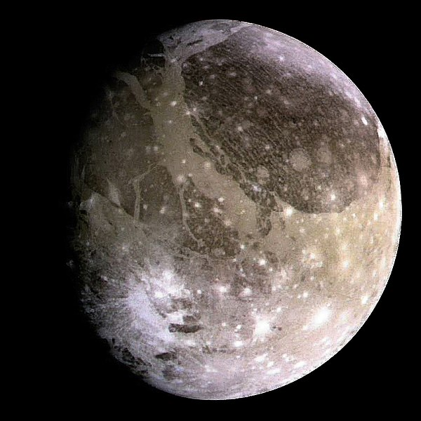 A 1996 image of Ganymede that was taken by NASA's Galileo spacecraft...which made one last flyby of the Jovian moon in early 2000 before its mission ended three years later.